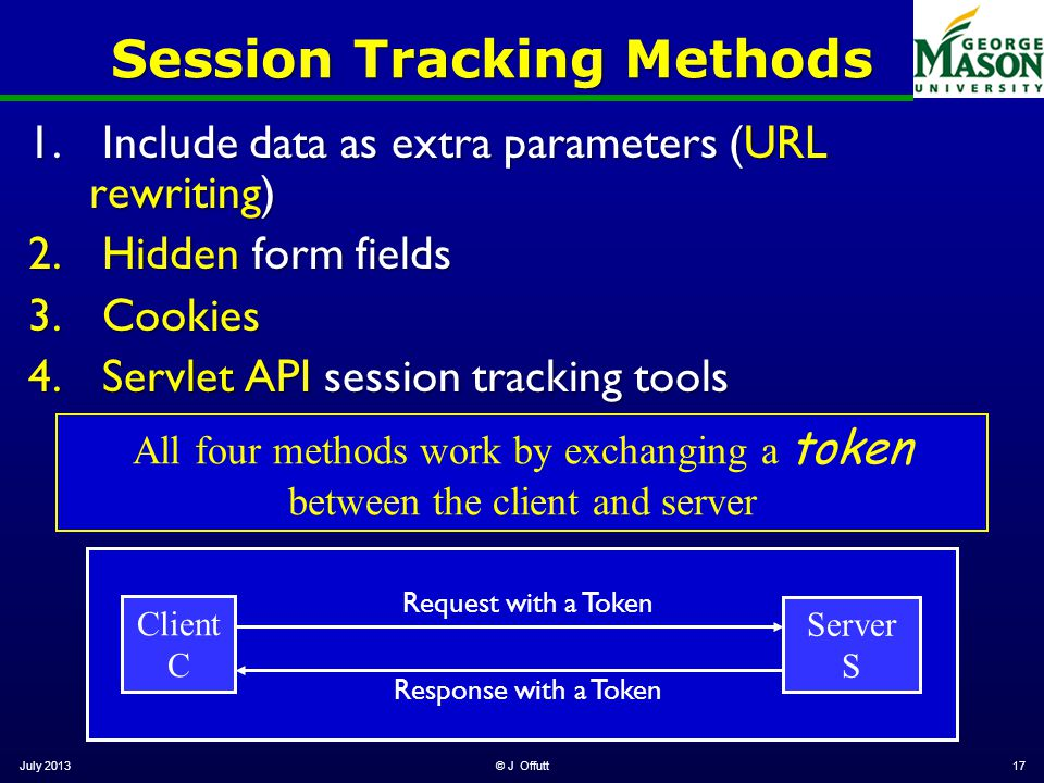 Session Tracking Methods 1.Include data as extra parameters (URL rewriting) 2.