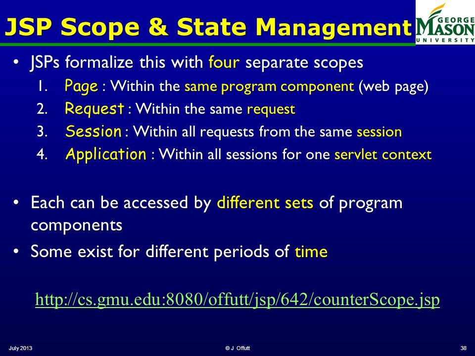 JSP Scope & State M anagement JSPs formalize this with four separate scopesJSPs formalize this with four separate scopes 1. Page : Within the same pro