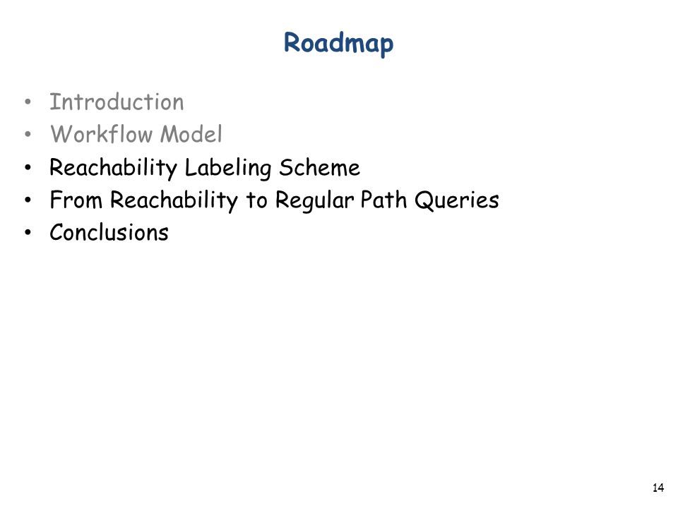Roadmap Introduction Workflow Model Reachability Labeling Scheme From Reachability to Regular Path Queries Conclusions 14