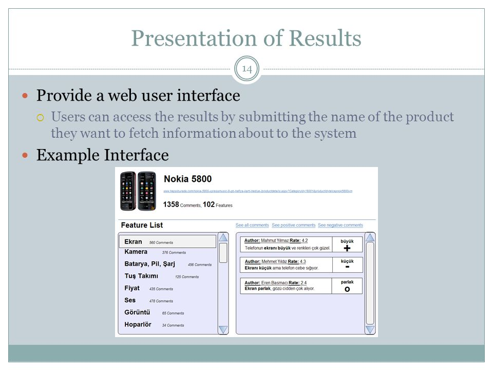 Presentation of Results 14 Provide a web user interface  Users can access the results by submitting the name of the product they want to fetch information about to the system Example Interface