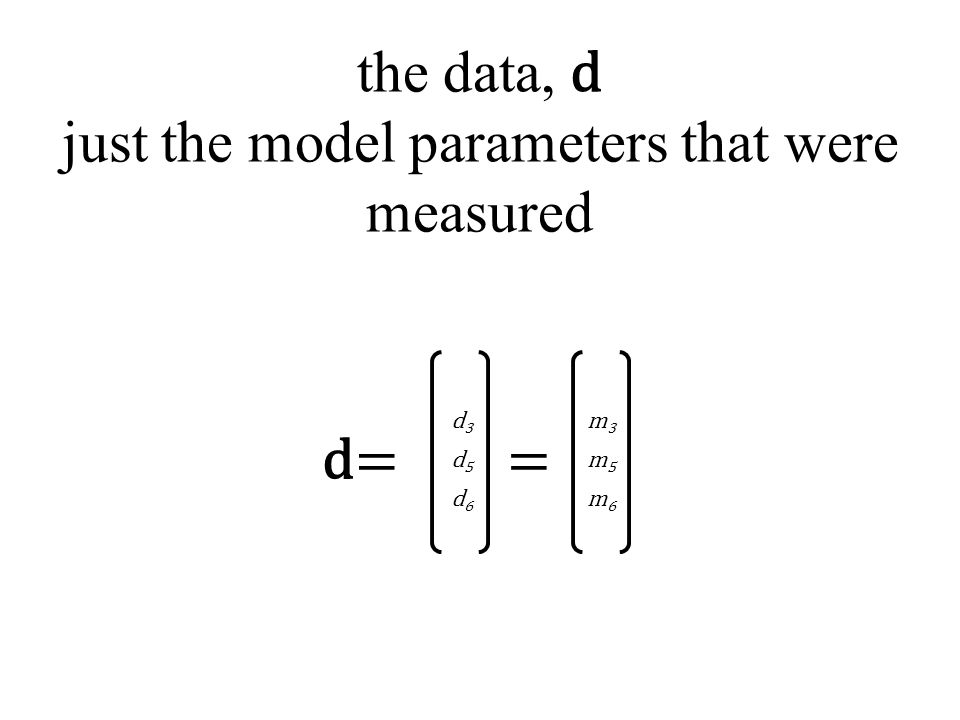 the data, d just the model parameters that were measured d=d= d3d3 d5d5 d6d6 m3m3 m5m5 m6m6 =