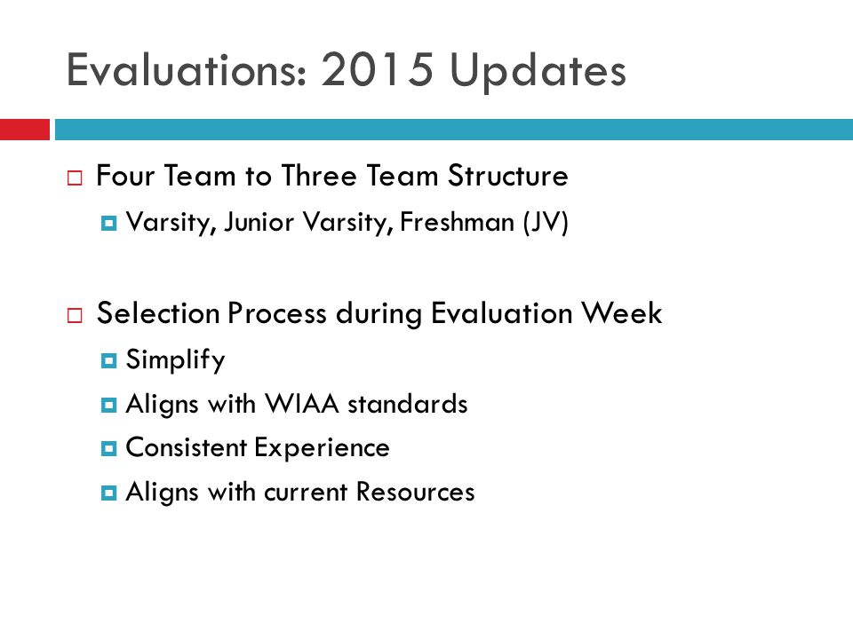 Evaluations: 2015 Updates  Four Team to Three Team Structure  Varsity, Junior Varsity, Freshman (JV)  Selection Process during Evaluation Week  Simplify  Aligns with WIAA standards  Consistent Experience  Aligns with current Resources