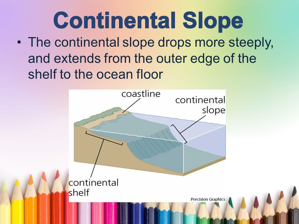 www.free-ppt-templates.com A gentle slope with a generally smooth surface, built up by the shedding of sediments from the continental block, and located between the continental slope and the abyssal plain.
