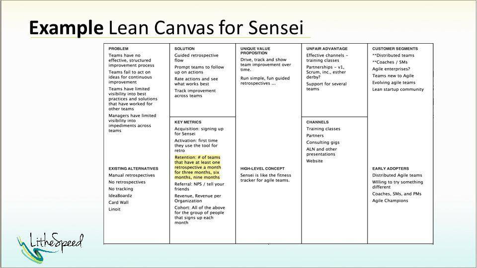Example Lean Canvas for Sensei