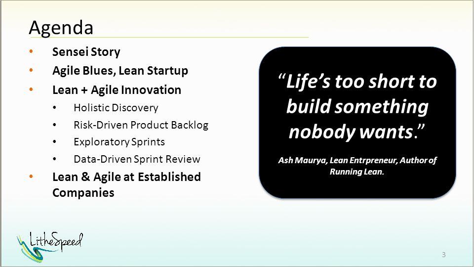 Sensei Story Agile Blues, Lean Startup Lean + Agile Innovation Holistic Discovery Risk-Driven Product Backlog Exploratory Sprints Data-Driven Sprint R