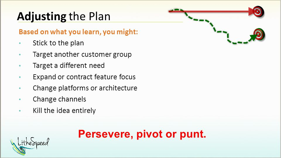 Adjusting the Plan Based on what you learn, you might: Stick to the plan Target another customer group Target a different need Expand or contract feature focus Change platforms or architecture Change channels Kill the idea entirely Persevere, pivot or punt.
