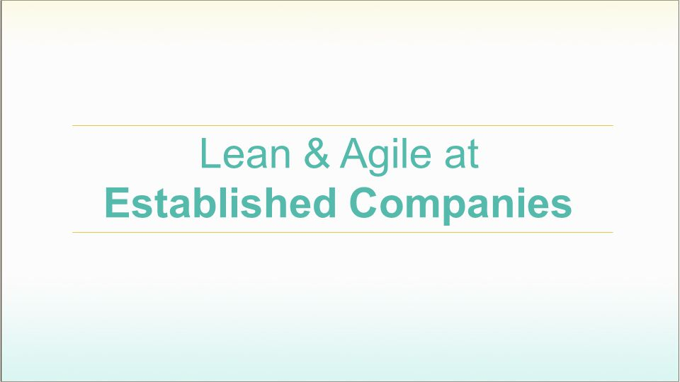 Lean & Agile at Established Companies