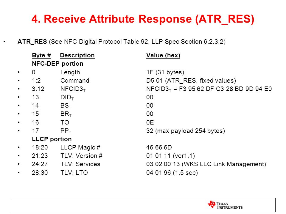 4. Receive Attribute Response (ATR_RES) ATR_RES (See NFC Digital Protocol Table 92, LLP Spec Section 6.2.3.2) Byte # DescriptionValue (hex) NFC-DEP po