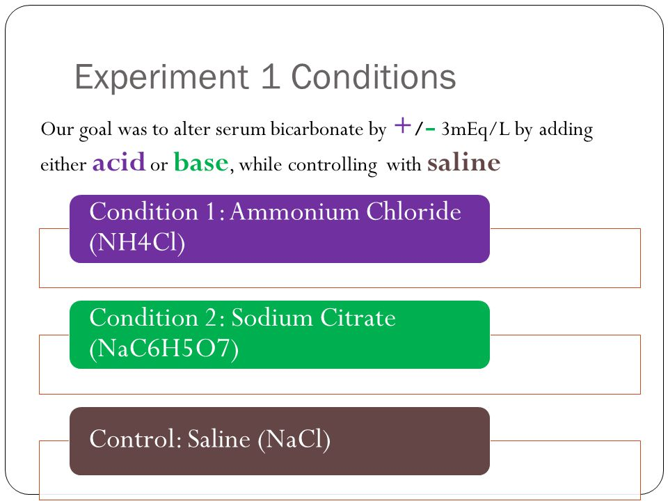 Experiment 1 Conditions Condition 1: Ammonium Chloride (NH4Cl) Condition 2: Sodium Citrate (NaC6H5O7) Control: Saline (NaCl) Our goal was to alter serum bicarbonate by + / - 3mEq/L by adding either acid or base, while controlling with saline