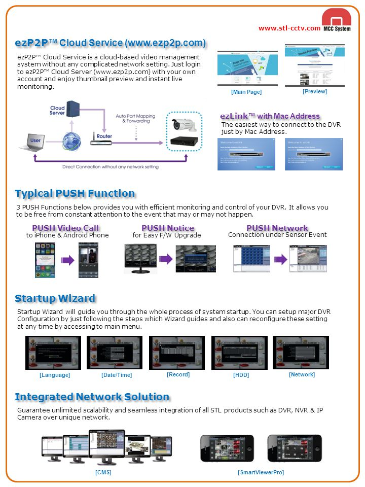 ezP2P™ Cloud Service is a cloud-based video management system without any complicated network setting. Just login to ezP2P™ Cloud Server (www.ezp2p.co
