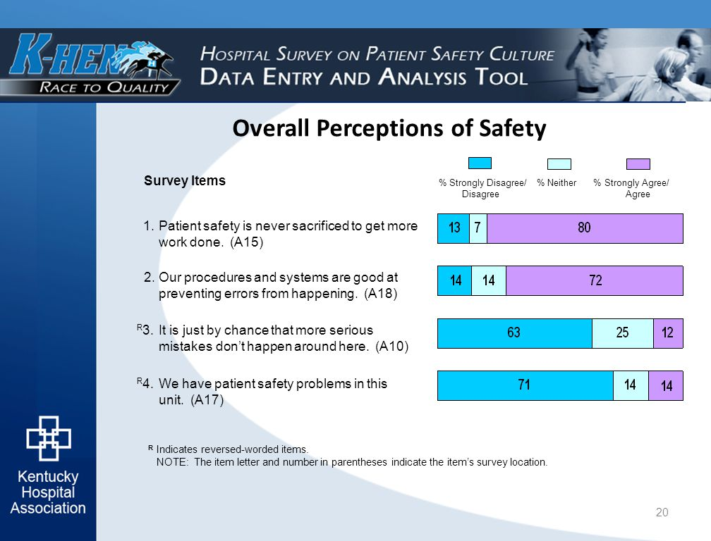 Overall Perceptions of Safety R Indicates reversed-worded items.