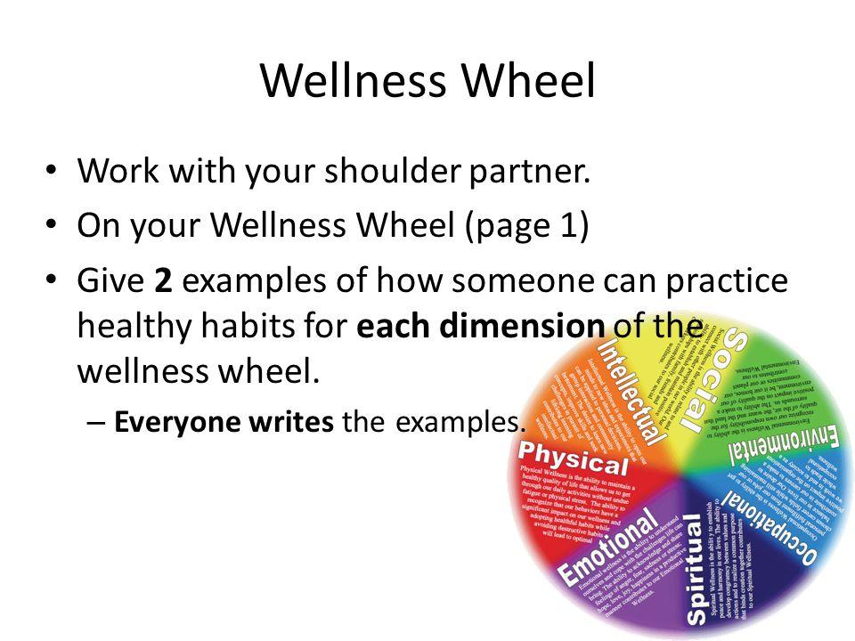 Wellness Wheel Work with your shoulder partner.