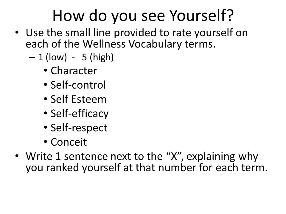 How do you see Yourself.