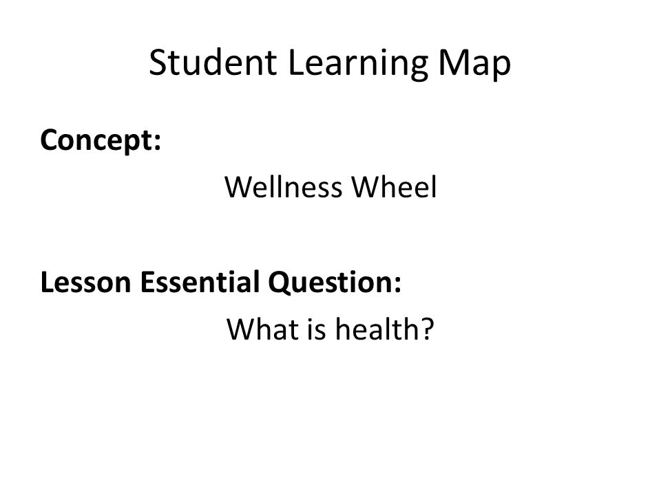 Student Learning Map Concept: Wellness Wheel Lesson Essential Question: What is health