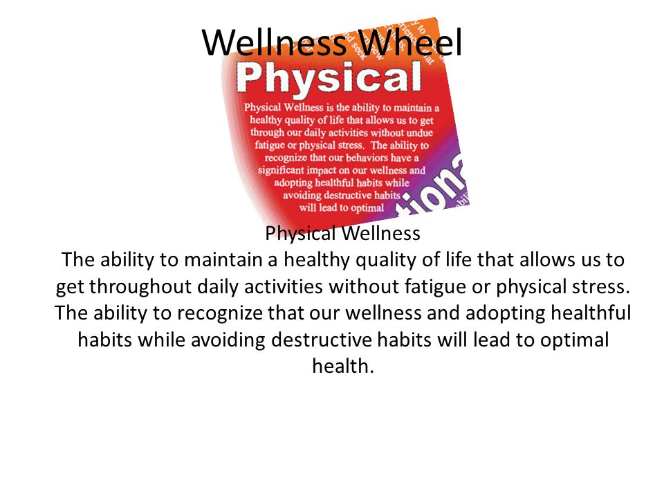 Wellness Wheel Emotional Wellness The ability to understand ourselves and cope with the challenges life can bring.