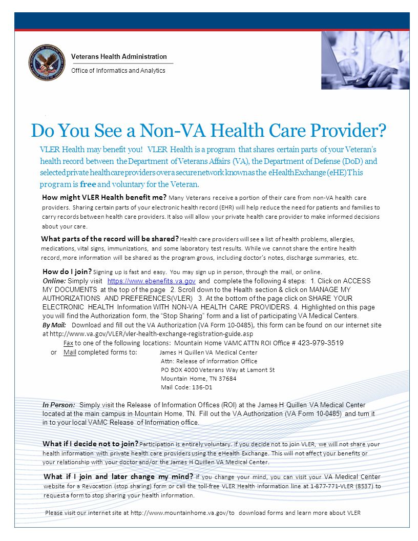 Veterans Health Administration Office of Informatics and Analytics Do You See a Non-VA Health Care Provider.