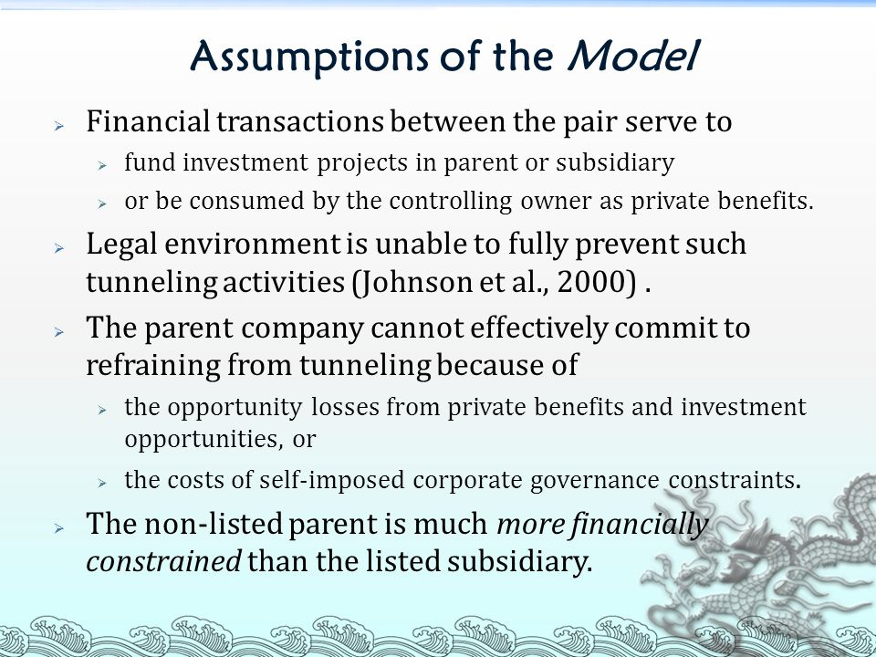 Assumptions of the Model  Financial transactions between the pair serve to  fund investment projects in parent or subsidiary  or be consumed by the