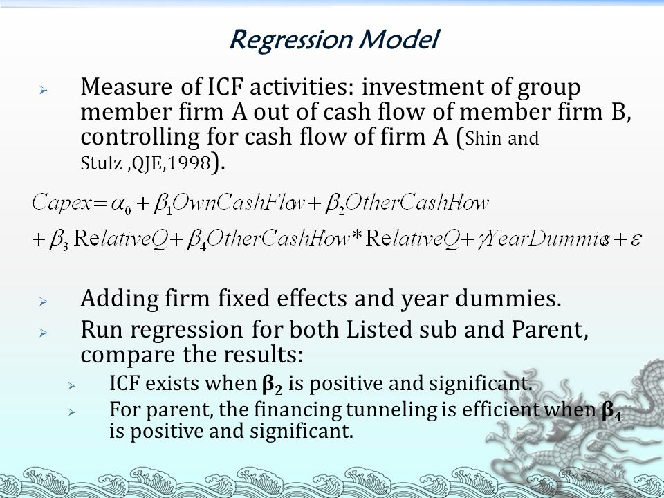 Regression Model  Measure of ICF activities: investment of group member firm A out of cash flow of member firm B, controlling for cash flow of firm A
