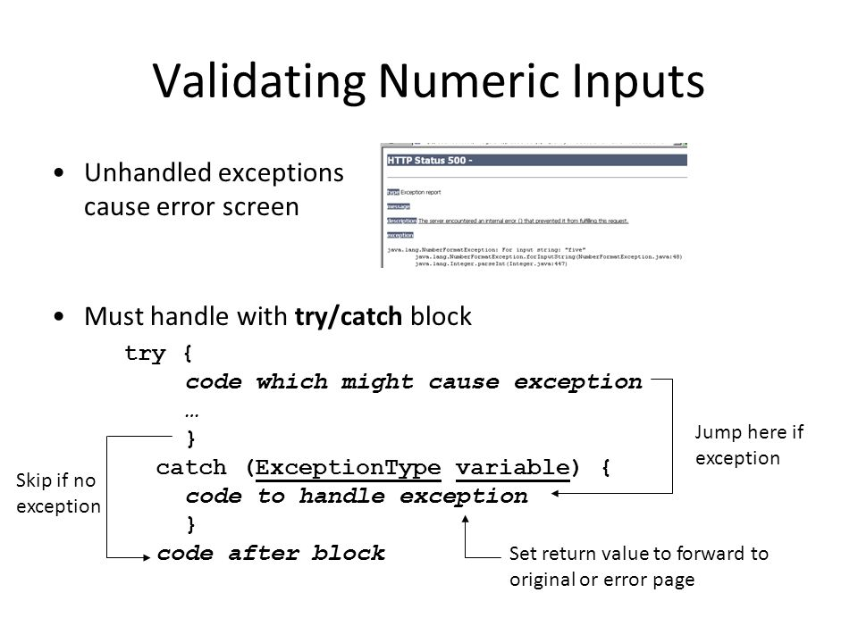Validating Numeric Inputs Unhandled exceptions cause error screen Must handle with try/catch block try { code which might cause exception … } catch (ExceptionType variable) { code to handle exception } code after block Jump here if exception Skip if no exception Set return value to forward to original or error page