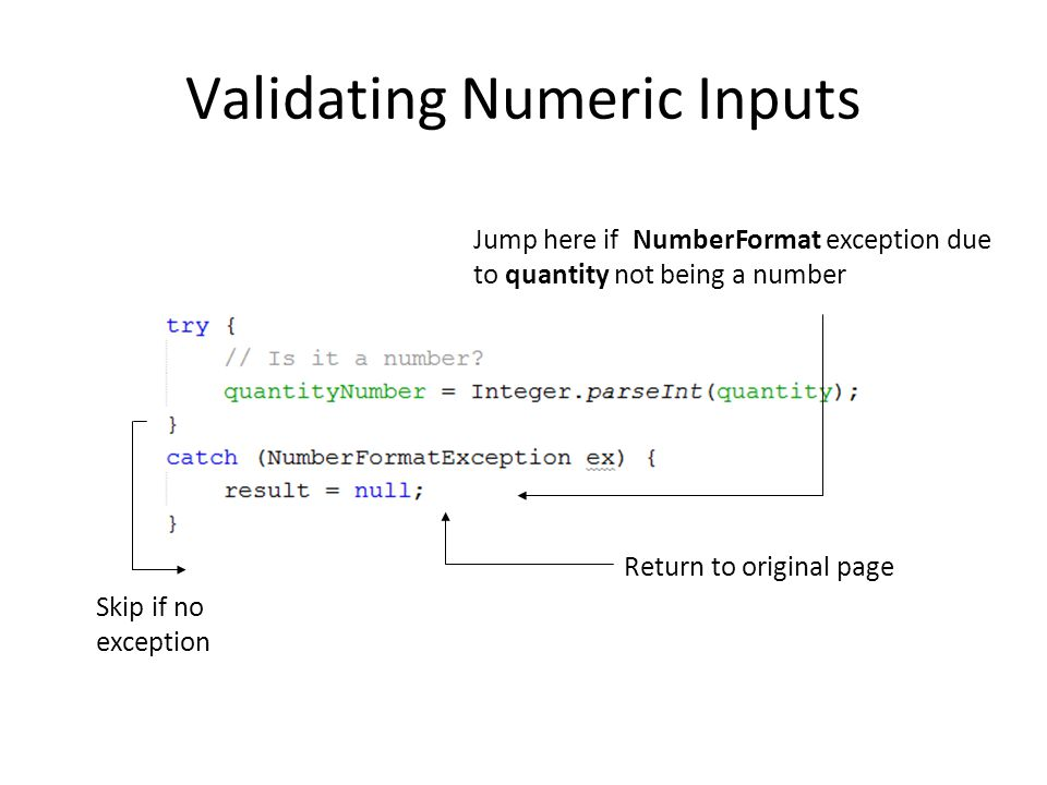 Validating Numeric Inputs Jump here if NumberFormat exception due to quantity not being a number Skip if no exception Return to original page