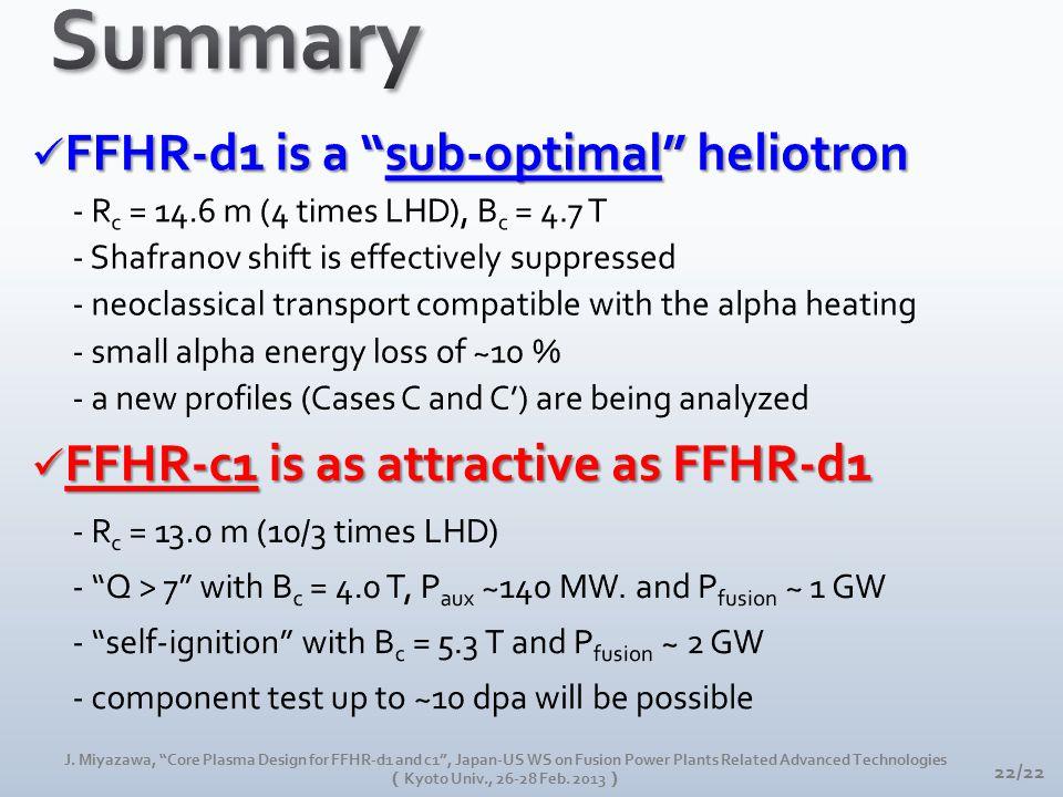 "22/22 J. Miyazawa, ""Core Plasma Design for FFHR-d1 and c1"", Japan-US WS on Fusion Power Plants Related Advanced Technologies ( Kyoto Univ., 26-28 Feb."