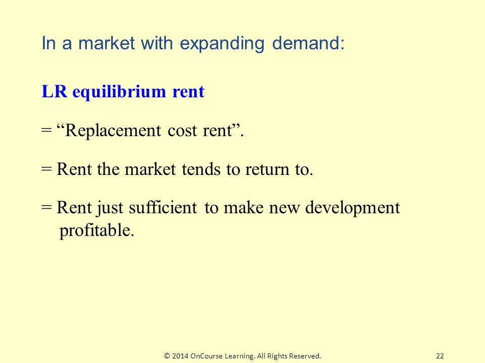 """In a market with expanding demand: LR equilibrium rent = """"Replacement cost rent"""". = Rent the market tends to return to. = Rent just sufficient to make"""