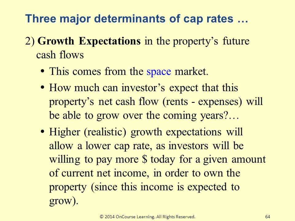 Three major determinants of cap rates … 2) Growth Expectations in the property's future cash flows  This comes from the space market.  How much can