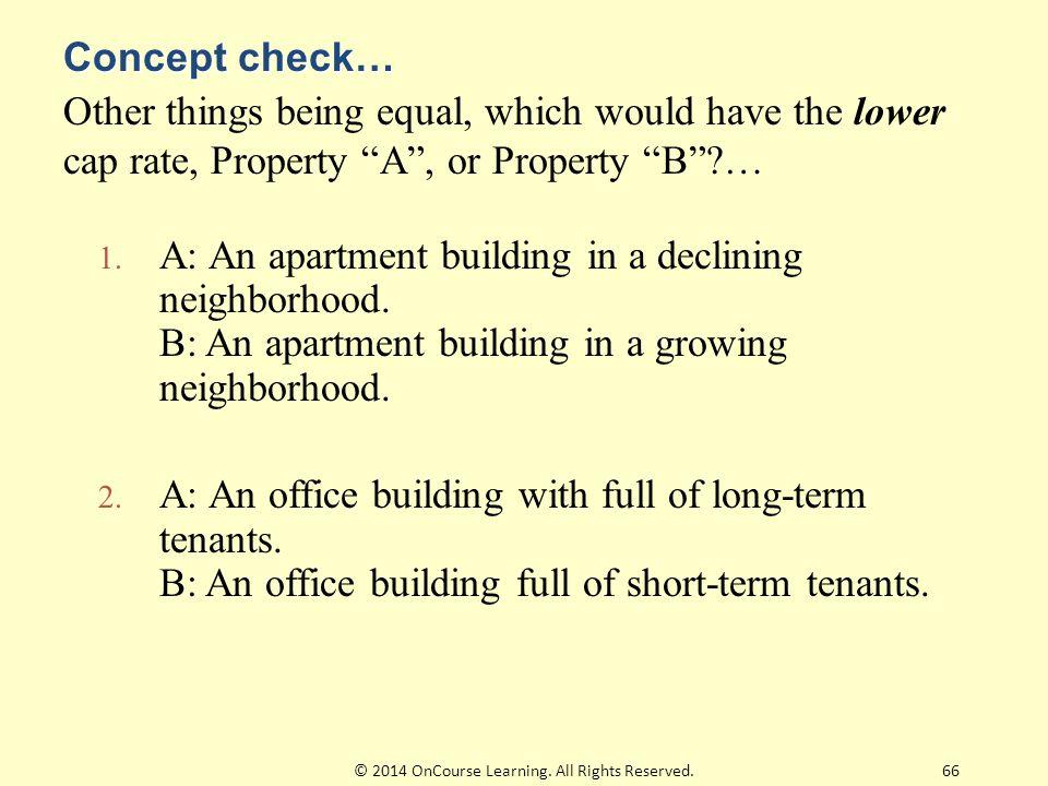 1. A: An apartment building in a declining neighborhood.