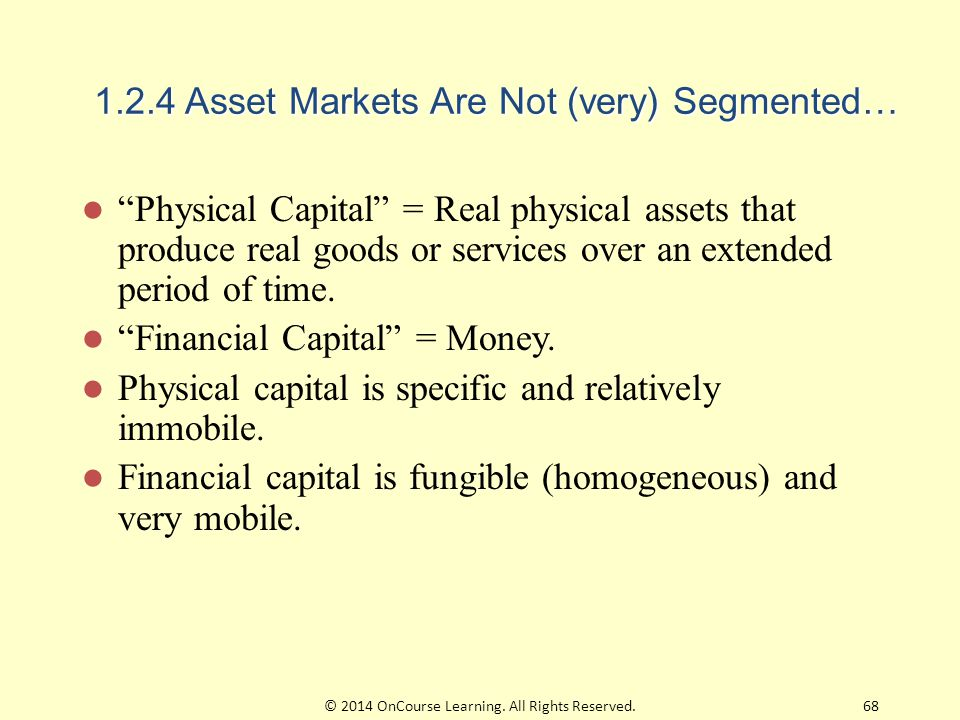 """1.2.4 Asset Markets Are Not (very) Segmented… """"Physical Capital"""" = Real physical assets that produce real goods or services over an extended period of"""