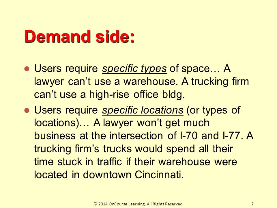 Demand side: Users require specific types of space… A lawyer can't use a warehouse. A trucking firm can't use a high-rise office bldg. Users require s