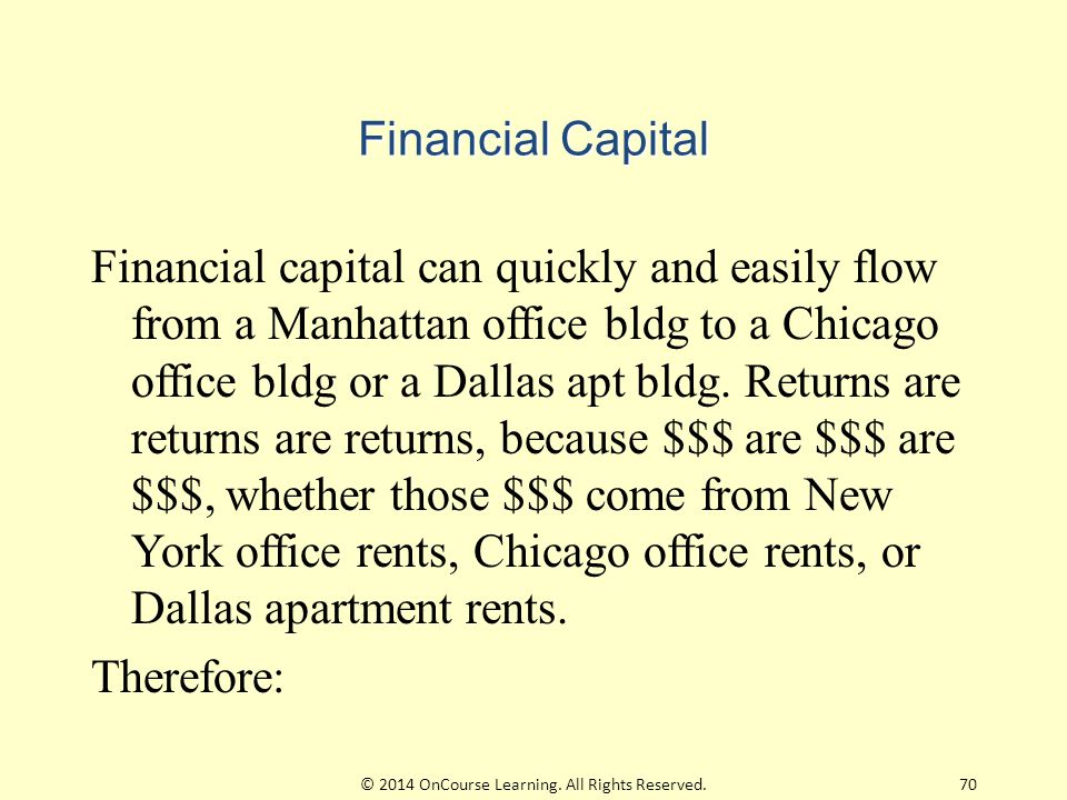 Financial Capital Financial capital can quickly and easily flow from a Manhattan office bldg to a Chicago office bldg or a Dallas apt bldg.
