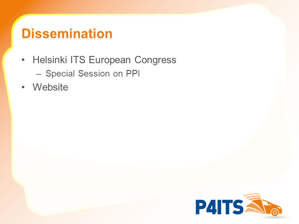 Dissemination Helsinki ITS European Congress –Special Session on PPI Website