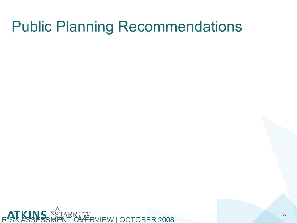 Public Planning Recommendations 38 RISK ASSESSMENT OVERVIEW | OCTOBER 2008