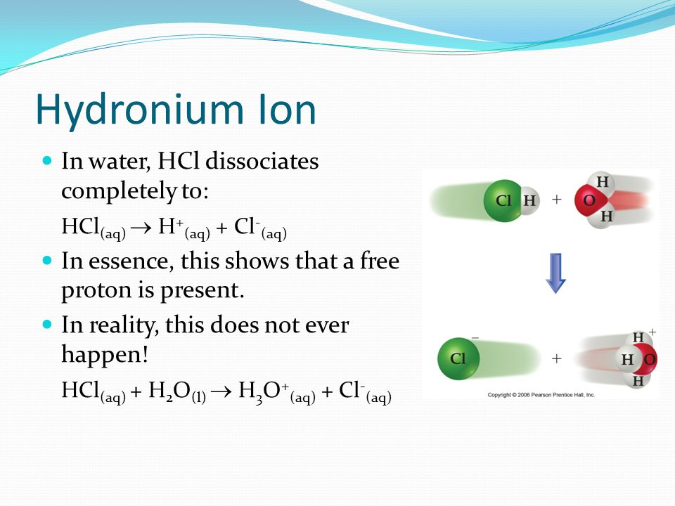 Hydronium Ion In water, HCl dissociates completely to: HCl (aq)  H + (aq) + Cl - (aq) In essence, this shows that a free proton is present.