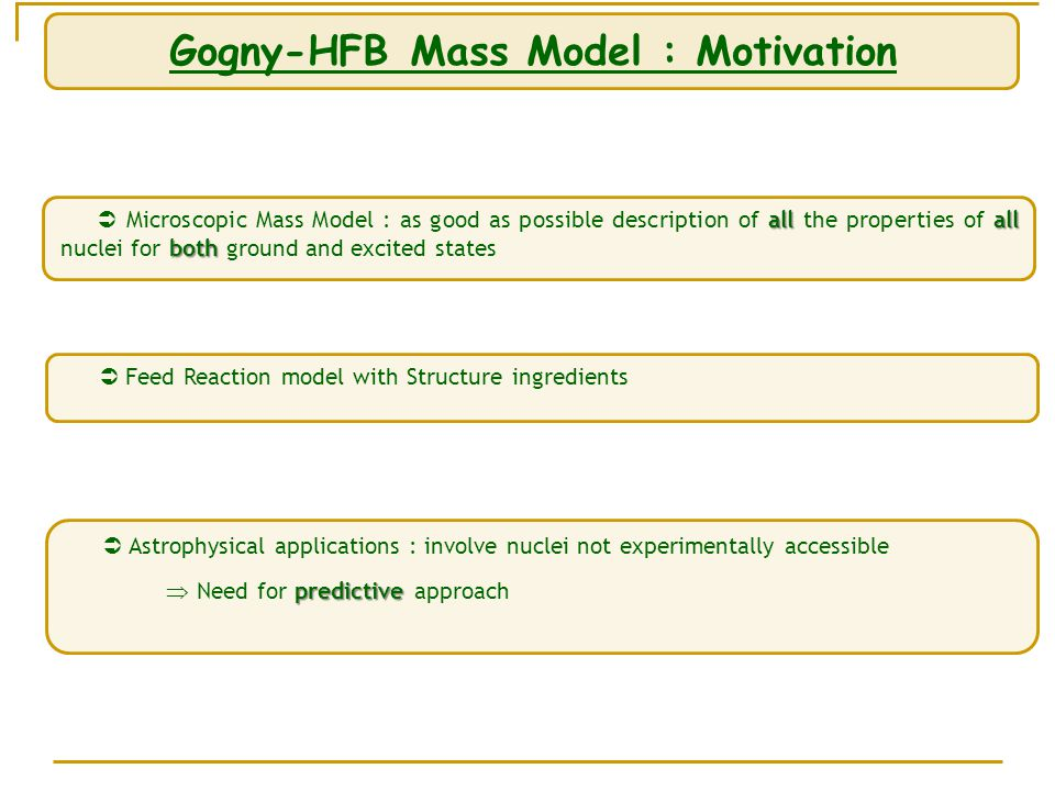 allall both  Microscopic Mass Model : as good as possible description of all the properties of all nuclei for both ground and excited states Gogny-HFB Mass Model : Motivation  Feed Reaction model with Structure ingredients  Astrophysical applications : involve nuclei not experimentally accessible predictive  Need for predictive approach