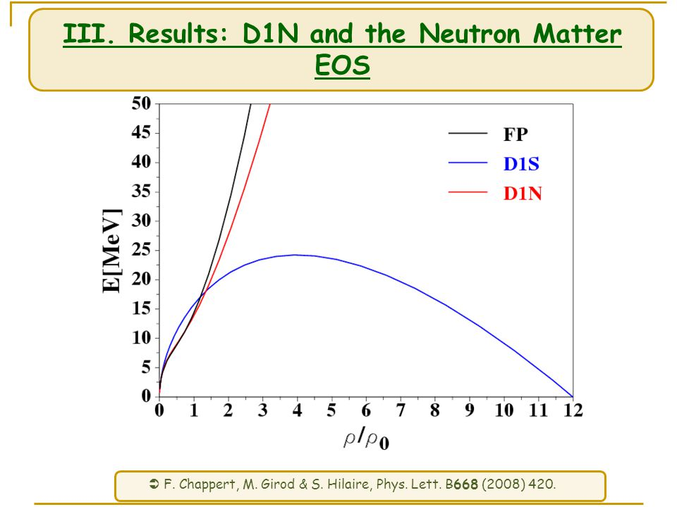 III. Results: D1N and the Neutron Matter EOS  F.