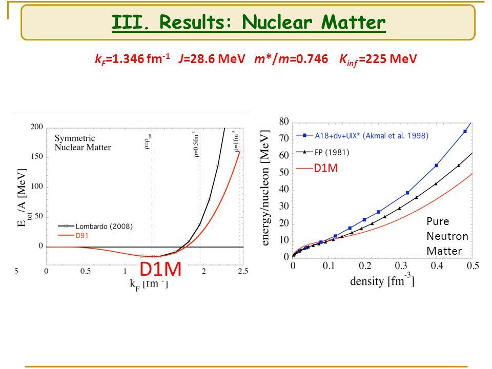III. Results: Nuclear Matter k F =1.346 fm -1 J=28.6 MeV m*/m=0.746 K inf =225 MeV Pure Neutron Matter