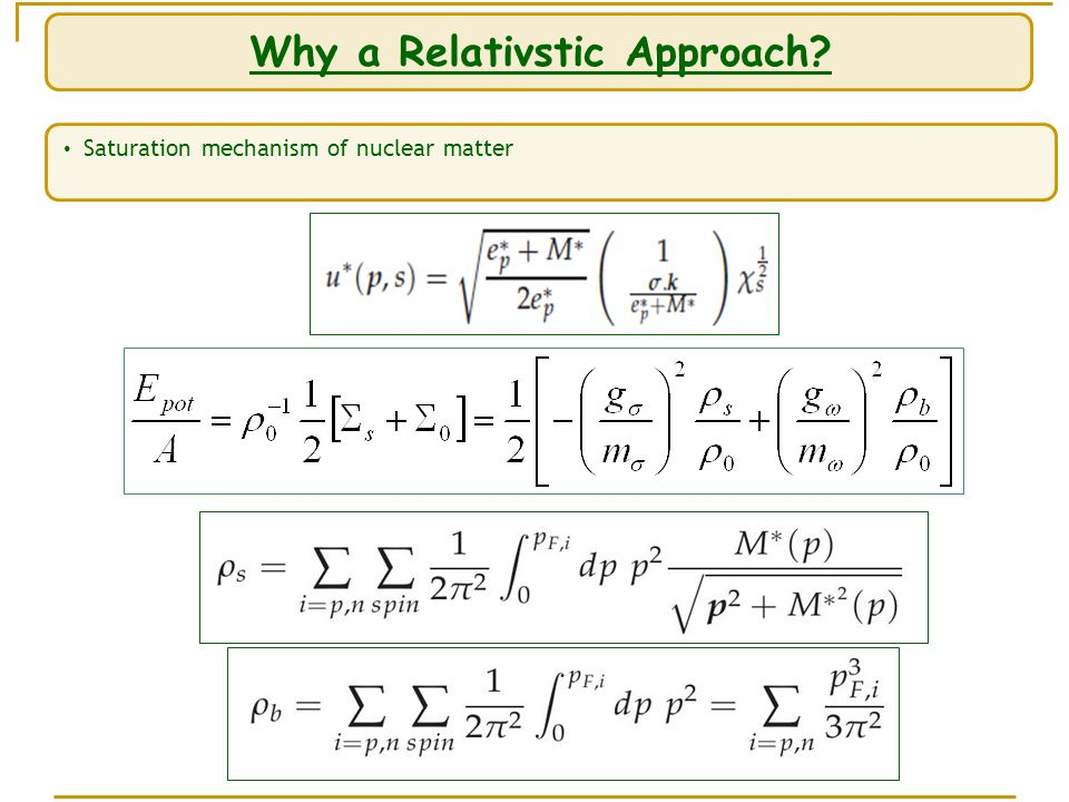 Why a Relativstic Approach Saturation mechanism of nuclear matter