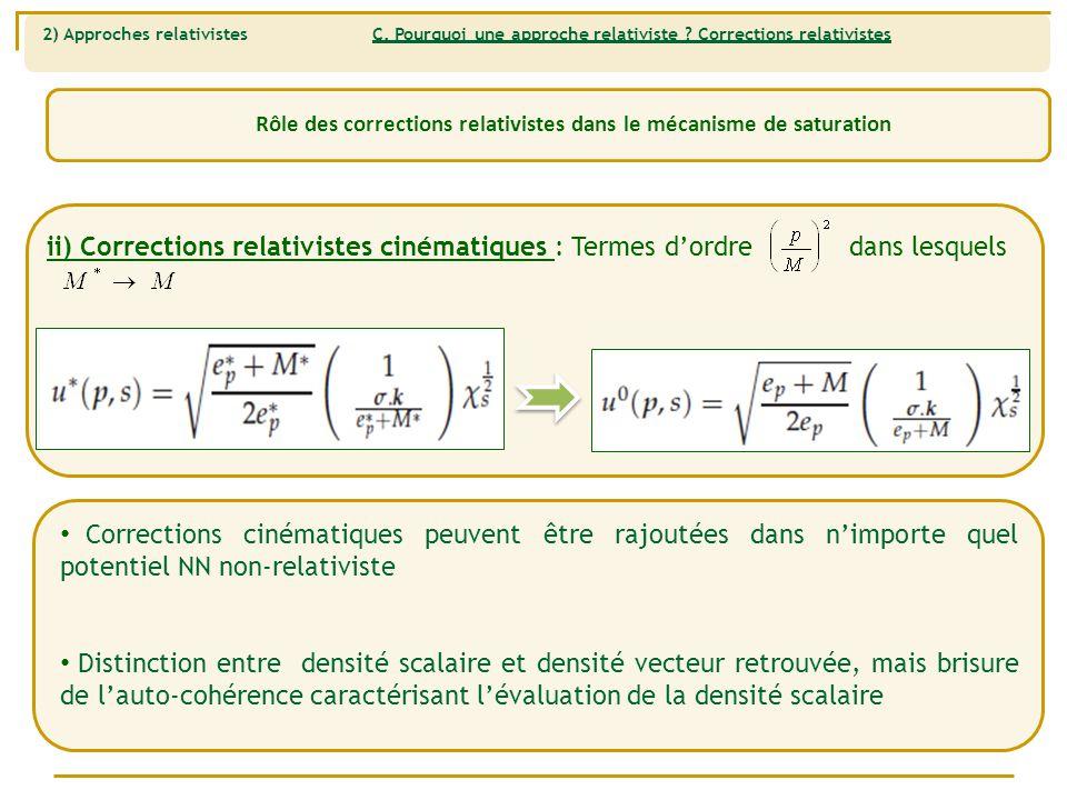 Rôle des corrections relativistes dans le mécanisme de saturation ii) Corrections relativistes cinématiques : Termes d'ordre dans lesquels Corrections cinématiques peuvent être rajoutées dans n'importe quel potentiel NN non-relativiste Distinction entre densité scalaire et densité vecteur retrouvée, mais brisure de l'auto-cohérence caractérisant l'évaluation de la densité scalaire 2) Approches relativistes C.