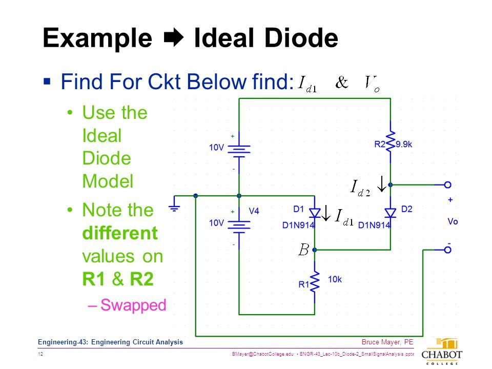 BMayer@ChabotCollege.edu ENGR-43_Lec-10b_Diode-2_SmallSignalAnalysis.pptx 12 Bruce Mayer, PE Engineering-43: Engineering Circuit Analysis Example  Id