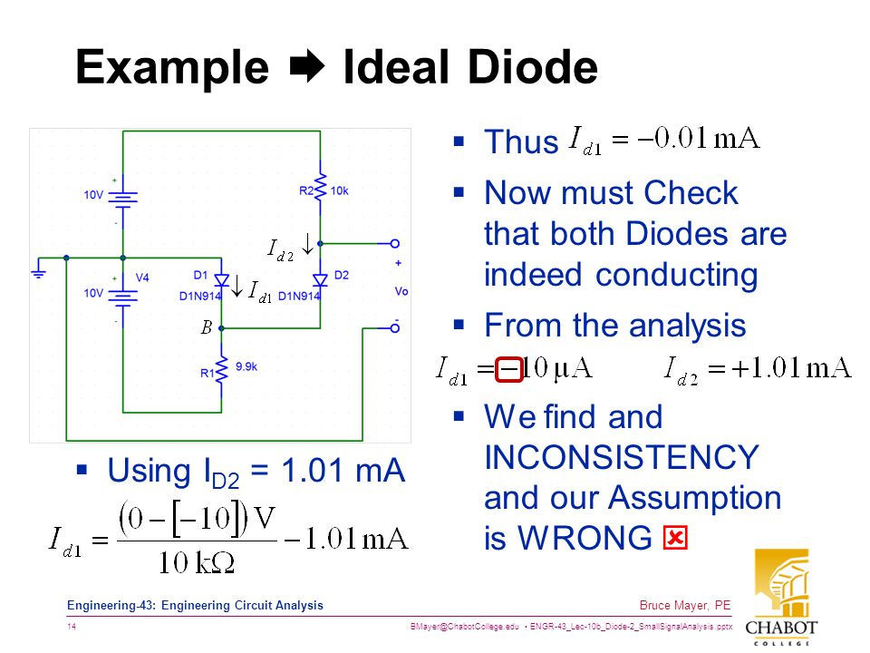 BMayer@ChabotCollege.edu ENGR-43_Lec-10b_Diode-2_SmallSignalAnalysis.pptx 14 Bruce Mayer, PE Engineering-43: Engineering Circuit Analysis Example  Id