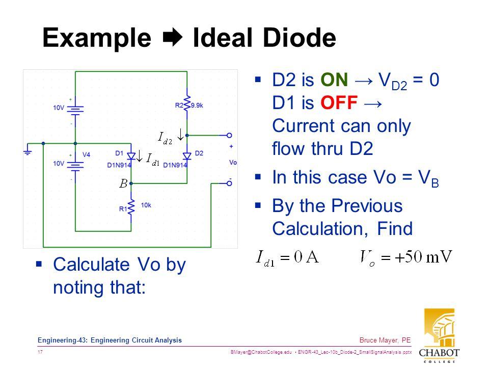 BMayer@ChabotCollege.edu ENGR-43_Lec-10b_Diode-2_SmallSignalAnalysis.pptx 17 Bruce Mayer, PE Engineering-43: Engineering Circuit Analysis Example  Id