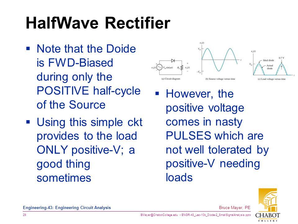 BMayer@ChabotCollege.edu ENGR-43_Lec-10b_Diode-2_SmallSignalAnalysis.pptx 29 Bruce Mayer, PE Engineering-43: Engineering Circuit Analysis HalfWave Rec