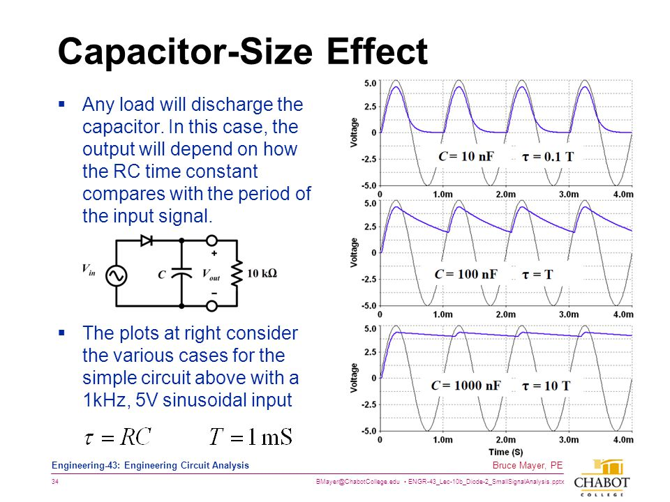 BMayer@ChabotCollege.edu ENGR-43_Lec-10b_Diode-2_SmallSignalAnalysis.pptx 34 Bruce Mayer, PE Engineering-43: Engineering Circuit Analysis Capacitor-Si