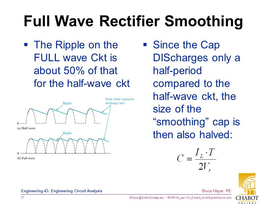 BMayer@ChabotCollege.edu ENGR-43_Lec-10b_Diode-2_SmallSignalAnalysis.pptx 37 Bruce Mayer, PE Engineering-43: Engineering Circuit Analysis Full Wave Re
