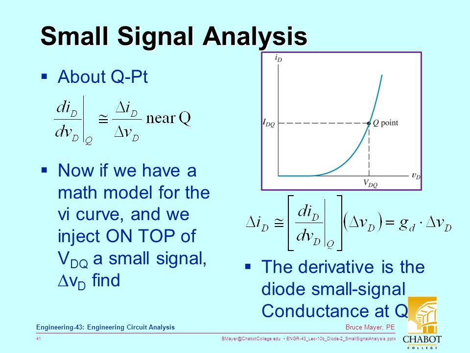 BMayer@ChabotCollege.edu ENGR-43_Lec-10b_Diode-2_SmallSignalAnalysis.pptx 41 Bruce Mayer, PE Engineering-43: Engineering Circuit Analysis Small Signal