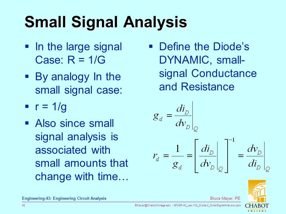 BMayer@ChabotCollege.edu ENGR-43_Lec-10b_Diode-2_SmallSignalAnalysis.pptx 42 Bruce Mayer, PE Engineering-43: Engineering Circuit Analysis Small Signal