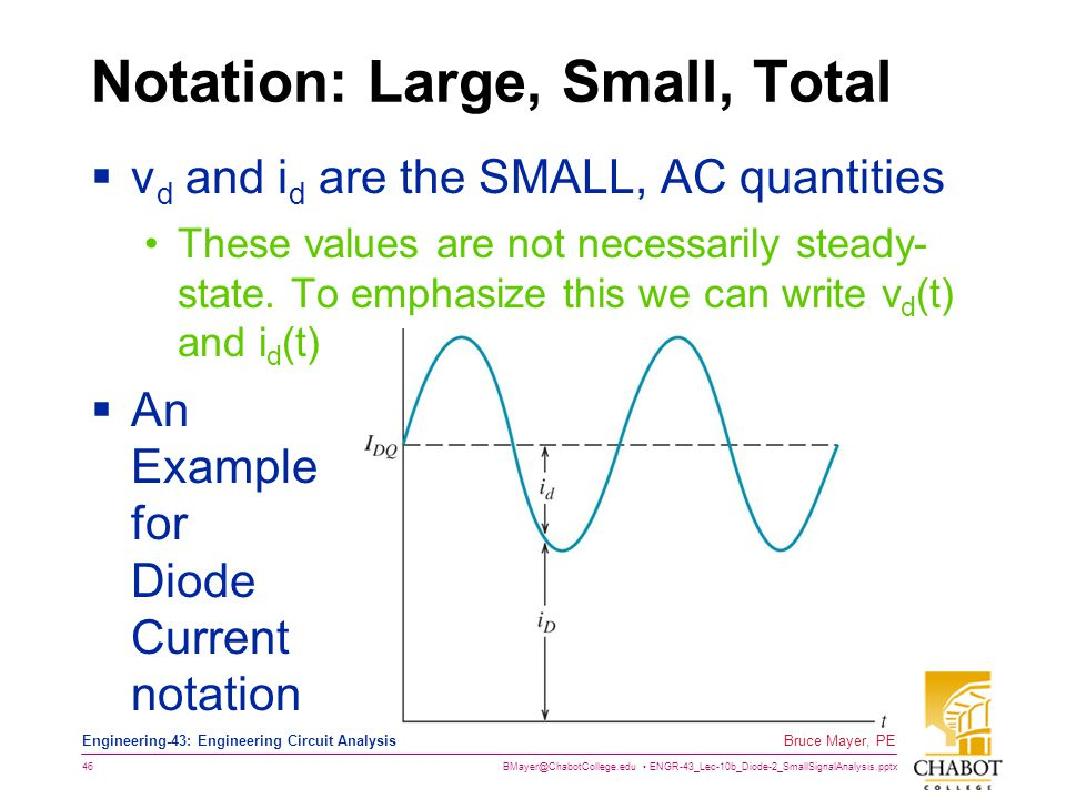 BMayer@ChabotCollege.edu ENGR-43_Lec-10b_Diode-2_SmallSignalAnalysis.pptx 46 Bruce Mayer, PE Engineering-43: Engineering Circuit Analysis Notation: La