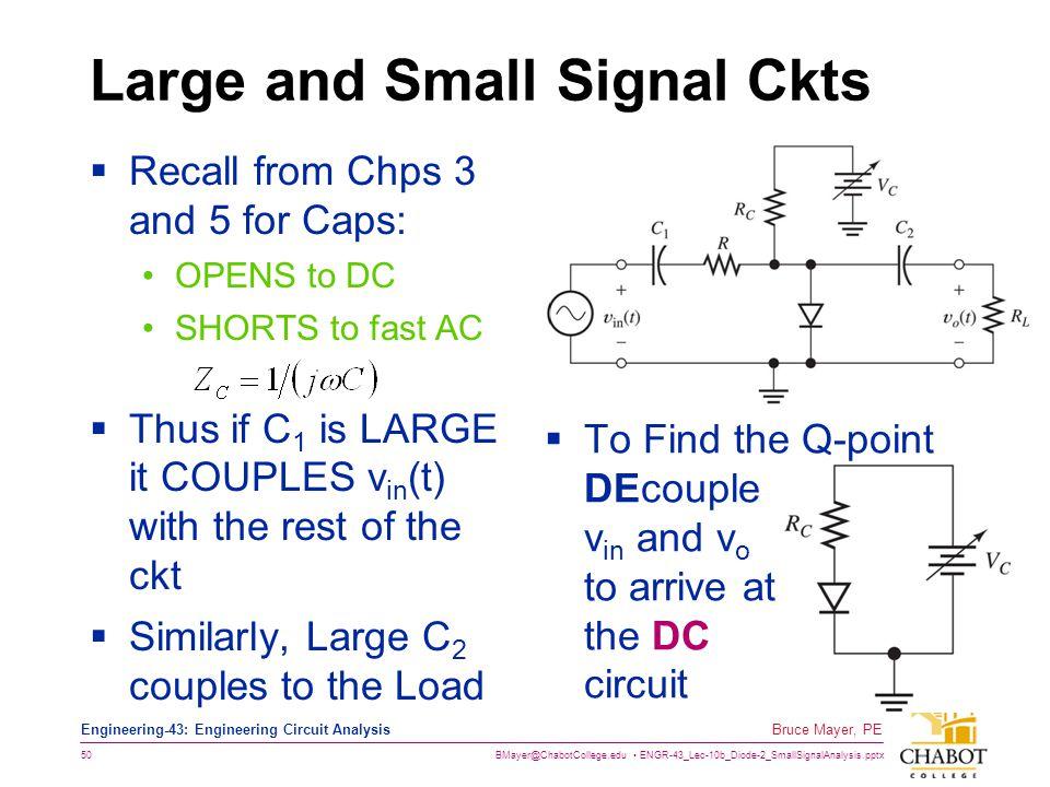 BMayer@ChabotCollege.edu ENGR-43_Lec-10b_Diode-2_SmallSignalAnalysis.pptx 50 Bruce Mayer, PE Engineering-43: Engineering Circuit Analysis Large and Sm