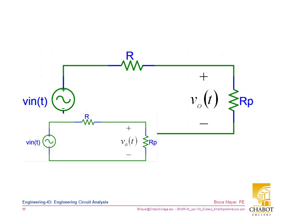 BMayer@ChabotCollege.edu ENGR-43_Lec-10b_Diode-2_SmallSignalAnalysis.pptx 56 Bruce Mayer, PE Engineering-43: Engineering Circuit Analysis